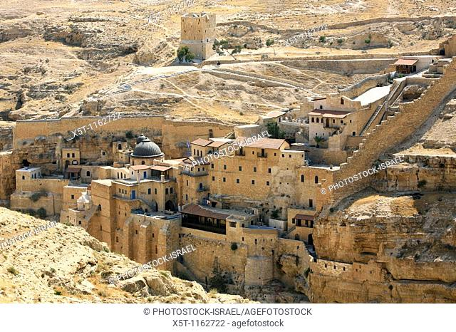 Israel, Judaea Dessert, Wadi Kidron, The Great Lavra of St  Sabas also Mar Saba is a Greek Orthodox monastery overlooking the Kidron Valley in the West Bank...