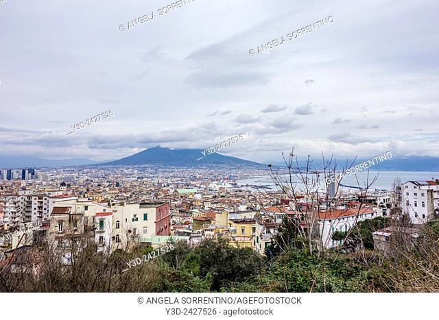 Cloudy Vesuvius in Naples, Italy