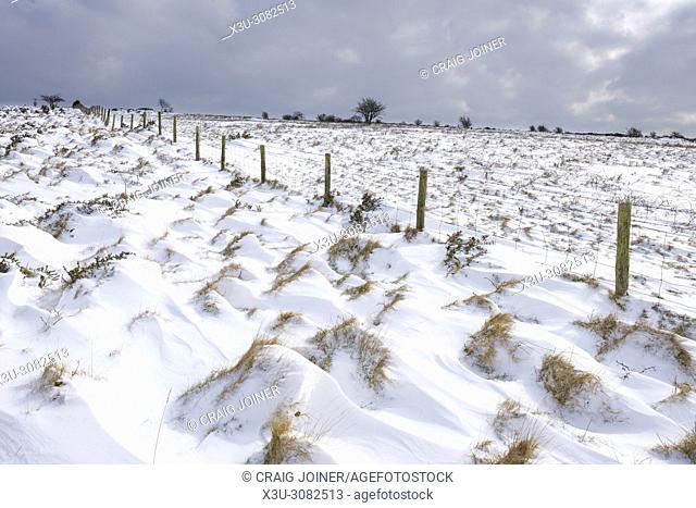 Snow on the Mendip Hills Area of Outstanding Natural Beauty near Cheddar, Somerset, England