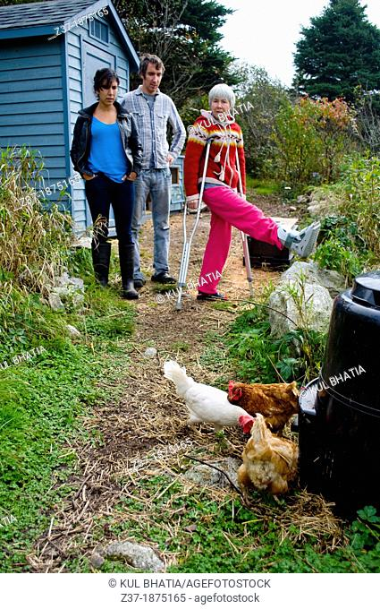 A family looks over its free-range chickens, Halifax, Canada