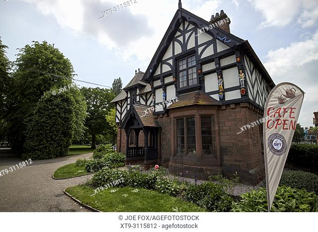 the lodge half timbered style building in Grosvenor park chester cheshire england uk