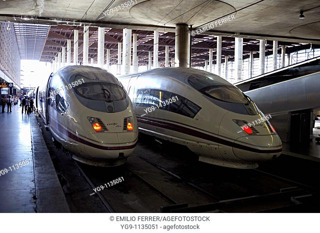 High Speed train AVE in Puerta de Atocha station  Madrid