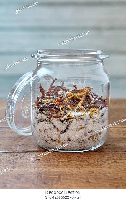 Marjoram & tomato salt with lemon in a preserving jar
