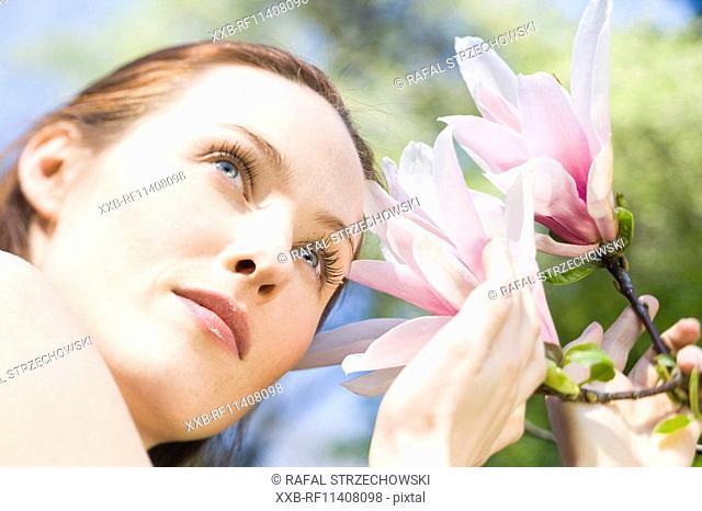 Woman in flowers