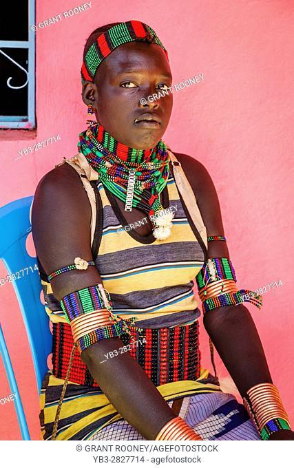 A Portrait Of A Young Hamer Tribeswoman At The Dimeka Saturday Market, Dimeka, Omo Valley, Ethiopia