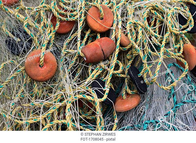 Full frame shot of tangled fishing net and buoys, Tayrona, Columbia