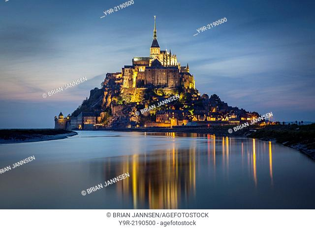 Twilight over Le Mont Saint Michel, Normandy France