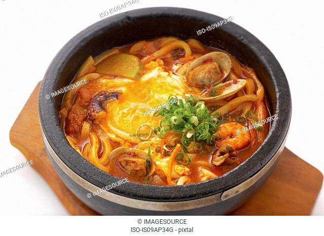 Korean dish of seafood hotpot