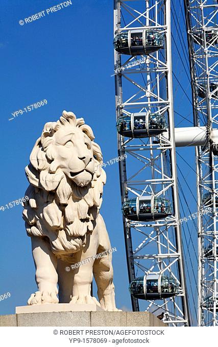 The Southbank Lion and British Airways London Eye, London, UK