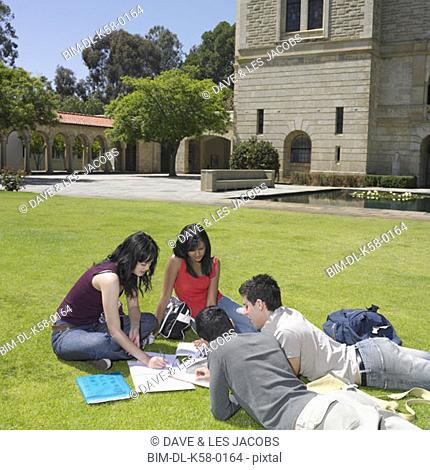 Group of university students studying outdoors, Perth, Australia