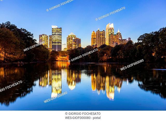 USA, Georgia, Atlanta, Piedmont Park, blue hour