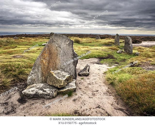 Twelve Apostles stone circle Bronze Age scheduled monument on Burley Moor West Yorkshire England