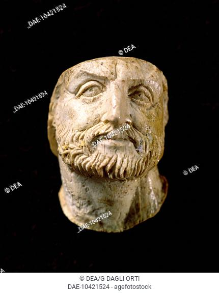 Head of Philip II of Macedon, ivory carving from the tomb of Vergina, Greece. Greek civilization, 4th Century BC  Tessalonica, Museo Archeologico