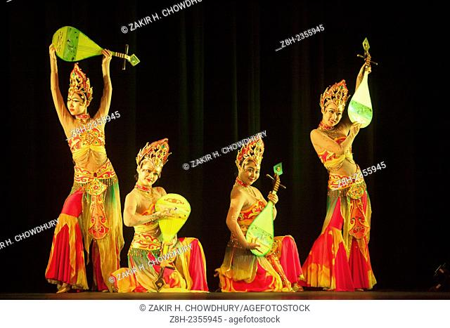 A Chinese cultural troupe enthralls Dhaka audience performing dance, music, magic and traditional Chinese acrobatics at National Theater Hall of Bangladesh...