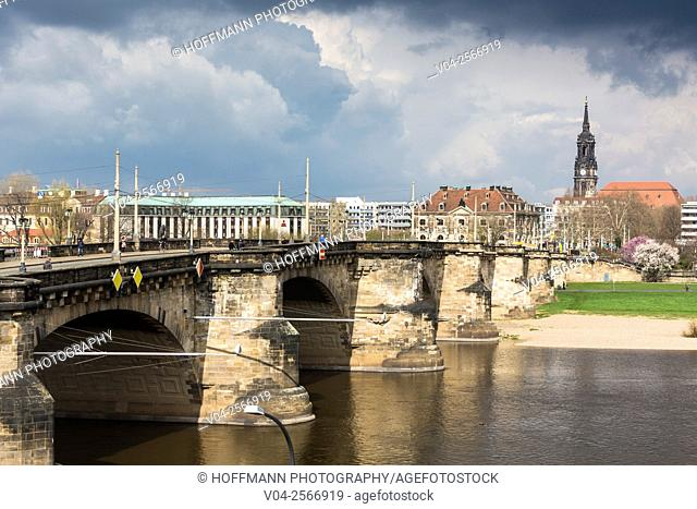 View of the Augustusbrücke (Augustus Bridge) towards the Dreikönigskirche (Three Magi Church) in Dresden, Saxony, Germany, Europe