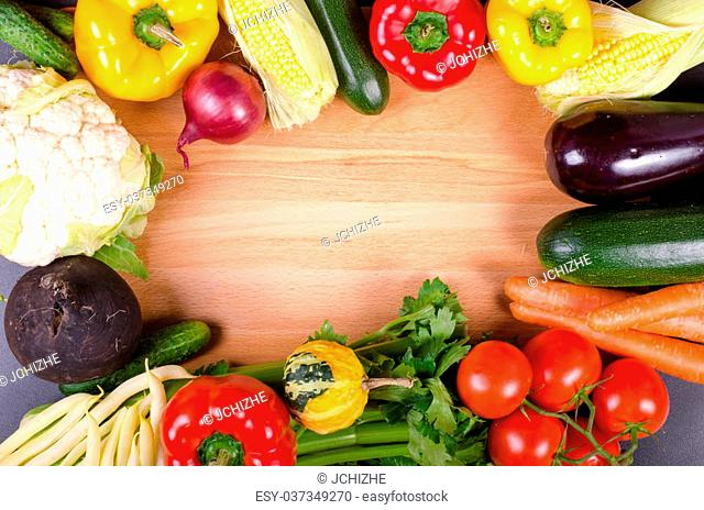 Fresh autumn organic vegetables. Healthy eating frame