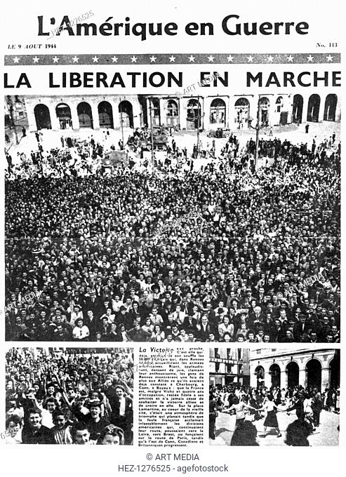 Front page of L'Amerique en Guerre newspaper, 9 August 1944. The front page story describes the progress of the liberation of France by the Allies
