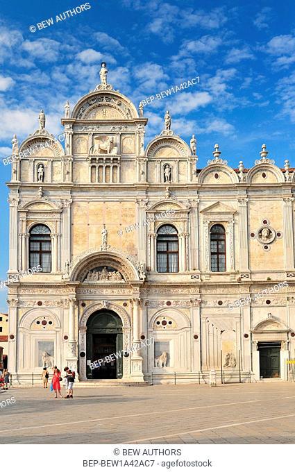 view of the scuola grande di san marco now hospital in venice nearby the basilica of santi giovanni e paolo. Venice Italy