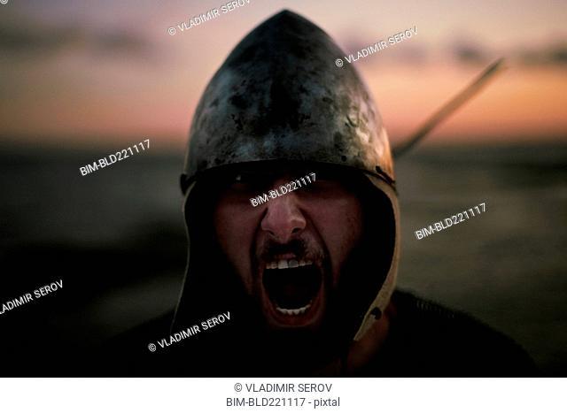 Caucasian soldier yelling