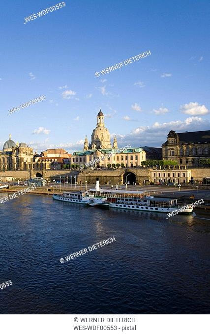 Germany, Dresden, Elbe river and waterfront
