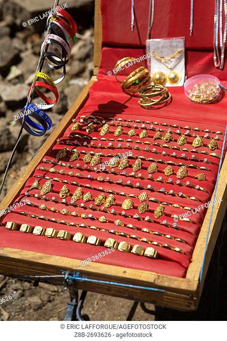 Ethiopia, Oromo, Sambate, small jeweller stall in a market