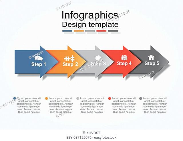 Infographic report template with arrows and icons. Vector illustration