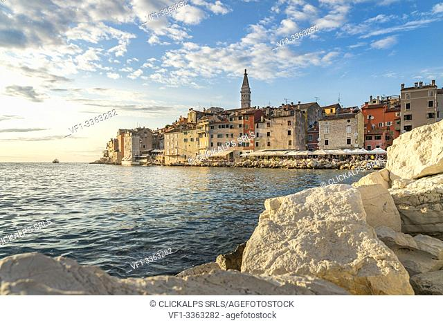 Sunset behind the old town in summer. Rovinj, Istria county, Croatia