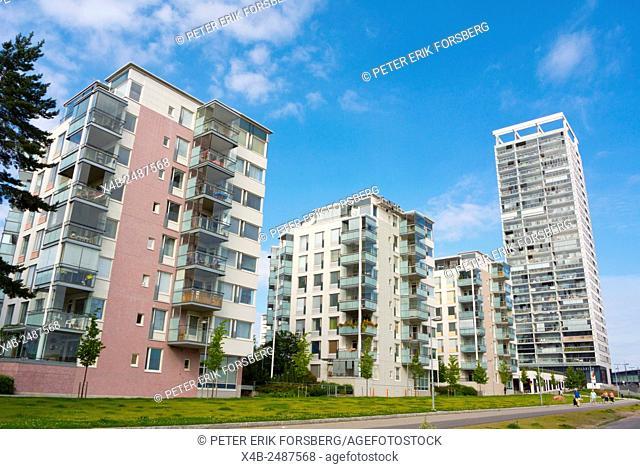 Residential housing, with Cirrus tower block, Vuosaari, Nordsjö, suburb in east Helsinki, Finland, Europe