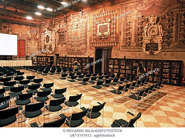 Italy, Emilia Romagna, Bologna, Hall of Jurists, Stabat Mater Hall, 16th Century, Archiginnasio Municipal Library