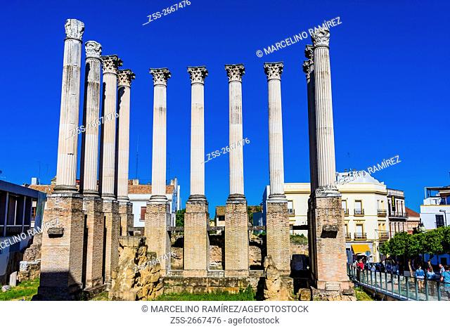 Remains of Roman temple of Córdoba, Andalusia, Spain, Europe