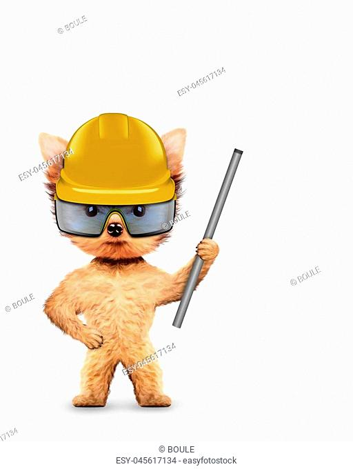 Funny dog in hard hat with banner isolated on white. Constructor and handyman concept. 3D illustration
