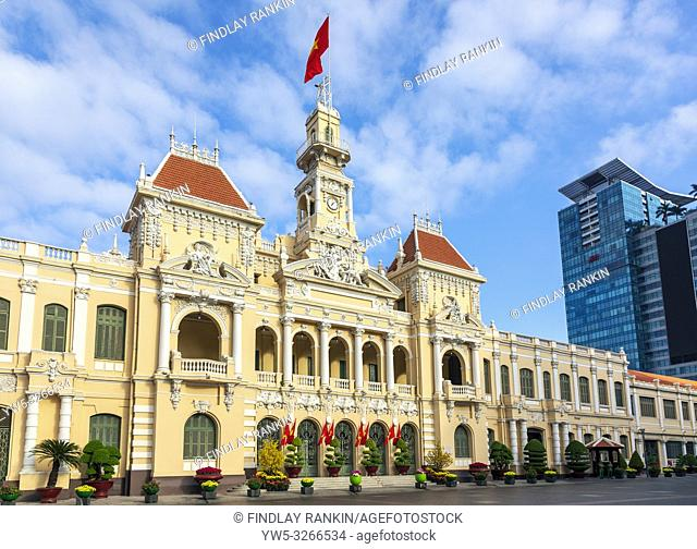 Hotel de Ville, (1901 - 1908) a neo-baroque french architecture building at the northern end of Nguyen Hue Boulevard and now used as offices by the Peoples...