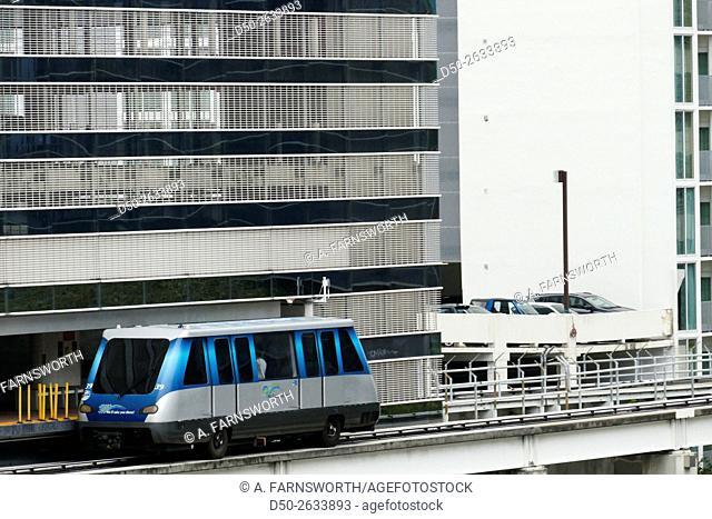 MIAMI, FLORIDA, Metromover train. Downtown
