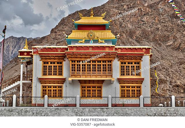 A newly built Buddhist monastery located high in the Himalayans in the Dah Village in Baimah, Ladakh, Jammu and Kashmir, India