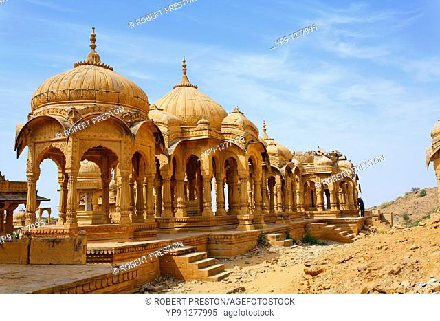 The Royal Cenotaphs near Jaisalmer, Rajasthan, India