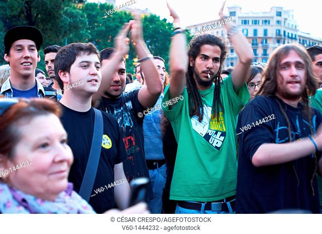 -Crowds of Indignants of 15M, Spanish Revolution- Catalonian Square in Barcelona (Spain)