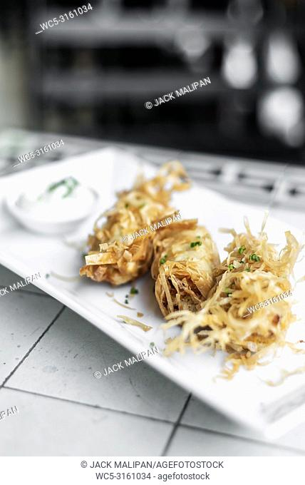 asian fried rice noodle shrimp spring rolls starter dish in Singapore