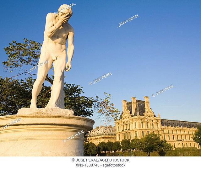 Louvre Museum seen from Tuileries Garden, Paris, France