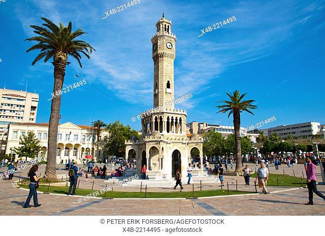 Saat Kulesi, the clock tower (1901), Konak square, central Izmir, Turkey, Asia Minor