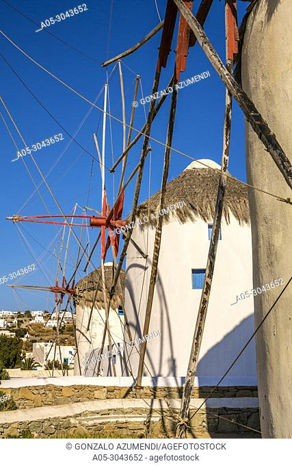 Windmills. Mykonos Town. Chora. Mykonos Island. Ciclades Islands. Greece