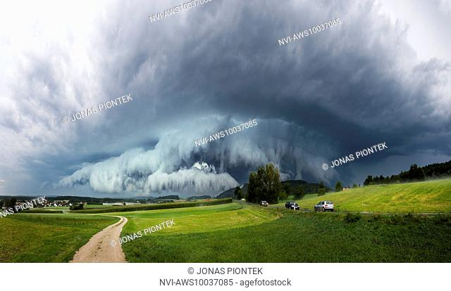 Panorama of a dramatic gust front of an outflow-dominant supercell near Hersbruck, Bavaria, Germany