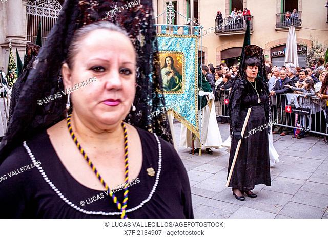 Mantillas in procession, sisterhood of Jesús del Gran Poder y virgen de la Macarena,Good Friday, Easter week,Plaza de San Agustin,Barcelona, Catalonia, Spain