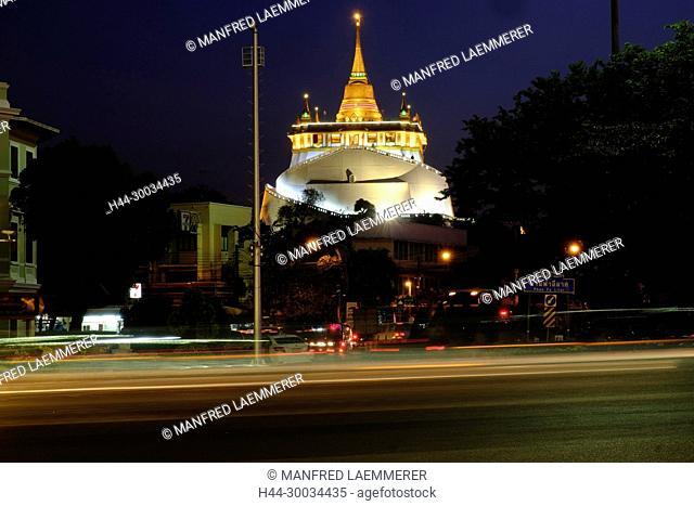 Asien, Thailand, Bangkok, Wat Saket, Golden Mount abends