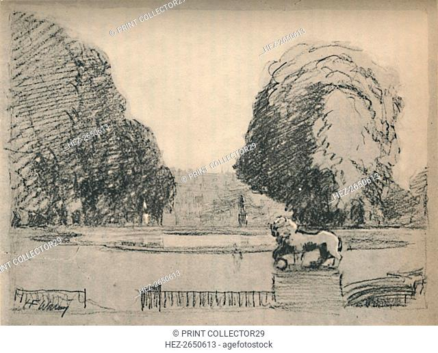 'In a melancholy frame of old clipped trees', c1927, (1927). Artist: Henry Franks Waring