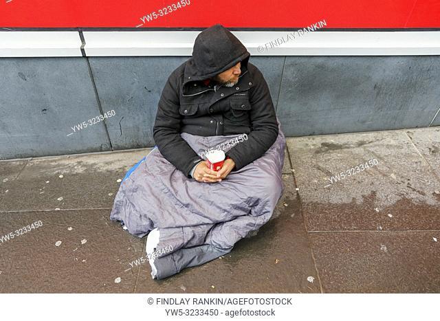 Street beggar on Buchanan Street, Glasgow, Scotland