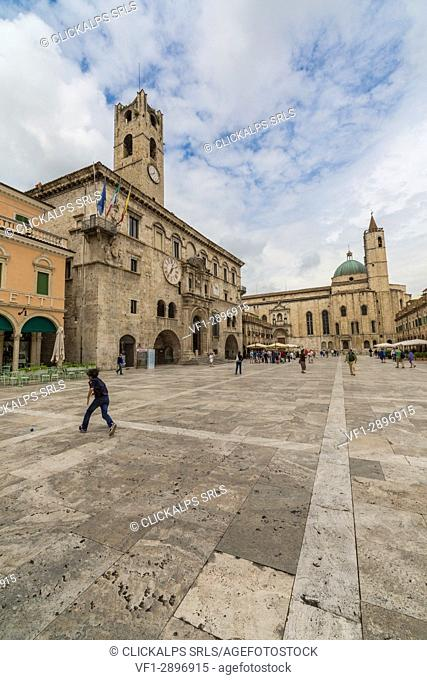 View of the historical buildings and Saint Francis Church Piazza del Popolo Ascoli Piceno Marche Italy Europe