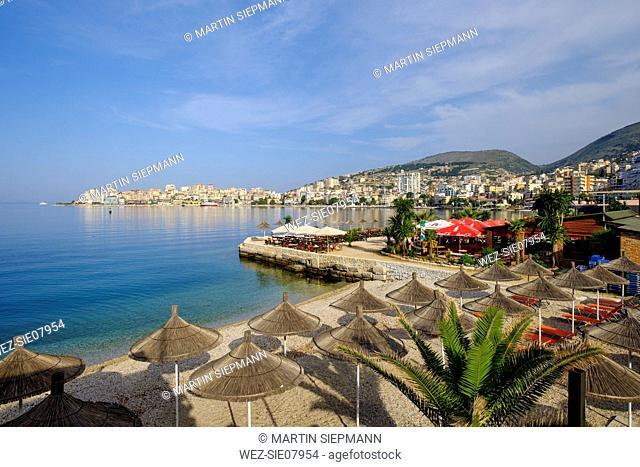 Albania, Vlore County, Saranda, beach and beach promenade