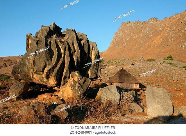 Die Landschaft beim Bergdorf Maubisse suedlich von Dili in Ost Timor auf der in zwei getrennten Insel Timor in Asien