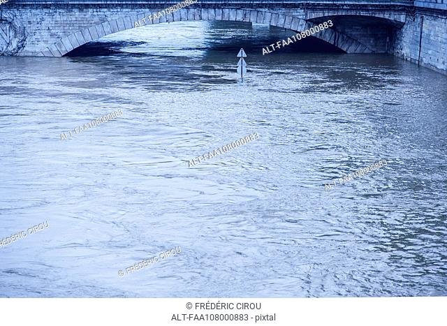 Rising waters during a period of flooding in the Seine River, Paris, France
