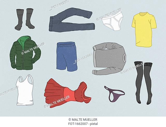 Various clothes against gray background